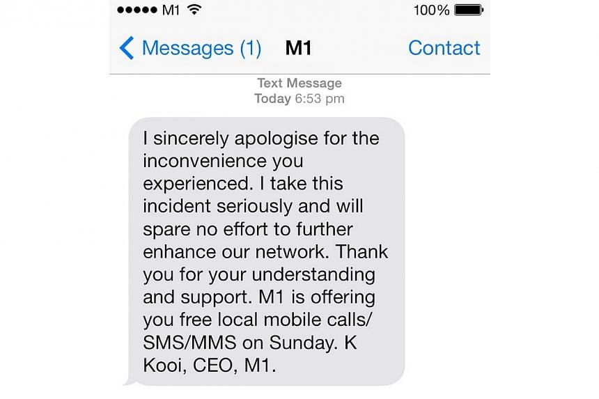 A screenshot of the messageM1 users received on Wednesday, Feb 5, 2014, with personal apologies from the telco's chief executive officer.-- ST PHOTO: MELODY ZACCHEUS
