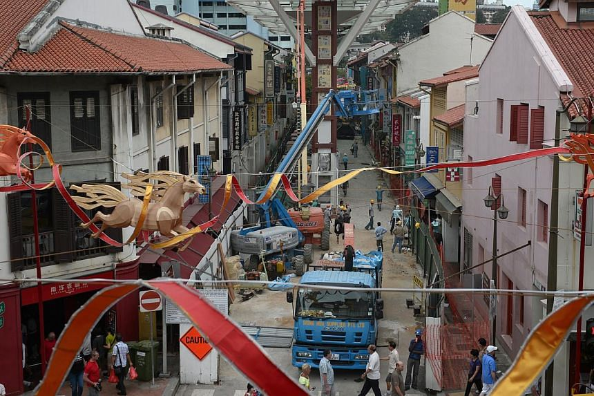 The view of the uncompleted walkway covering Chinatown Food Street on Jan 27, 2014. Chinatown Food Street, known for its roadside hawker food, is likely to open by the end of this month. -- ST FILE PHOTO: MARK CHEONG