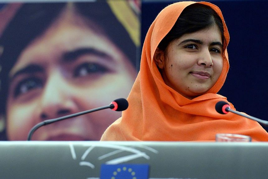Pakistani teenager Malala Yousafzai addressing the European Parliament assembly after receiving the EU's prestigious Sakharov human rights prize in recognition of her crusade for the right of all children, girls and boys, to an education on Nov 20, 2