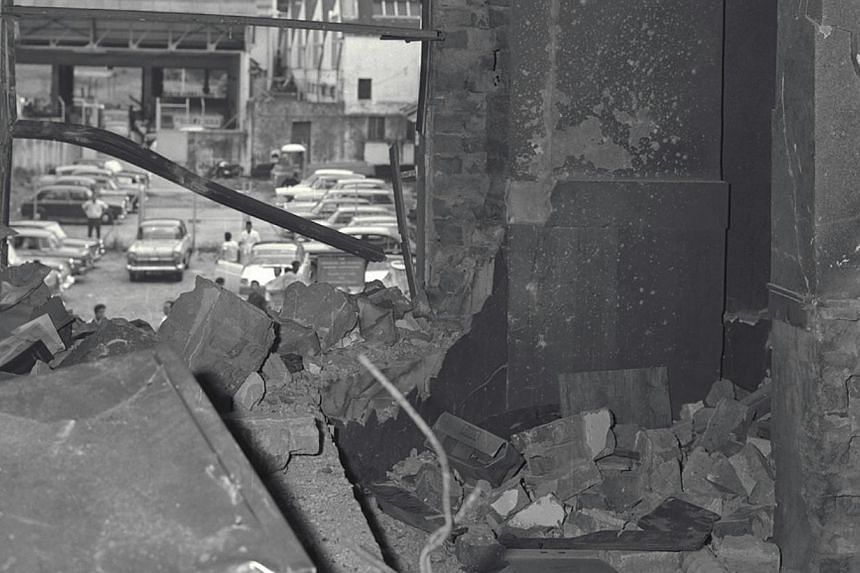 The bomb was placed on the stairway on themezzanine floor of MacDonald House whereit exploded. -- ST FILE PHOTO: HAN HAI FONG