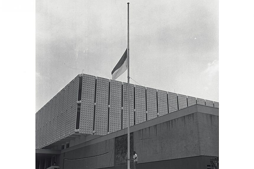 The Indonesian flag being flown at half-mastat the Indonesian Embassy. The embassy wasmourning the deaths of two executed Indonesiansaboteurs at Changi Jail.-- ST FILE PHOTO:KOK AH CHONG