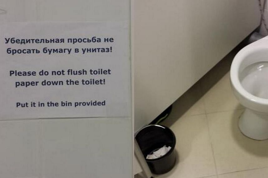Athletes and journalists at the Sochi 2014 Winter Olympics have taken to Twitter to share hilarious pictures from venues in the Russian city. -- PHOTO: TWITTER OF GREG WYSHYNSKI