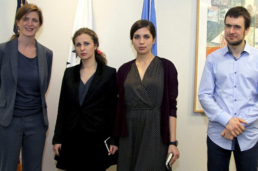 United States Ambassador to the United Nations (UN) Samantha Power (left) meets Maria Alyokhina (second left) and Nadezhda Tolokonnikova of the Russian dissident band Pussy Riot, and Nadezha's husband Pyotr Verzilov (right) at the US Mission to the U