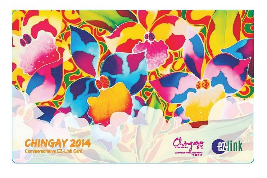EZ-link cards designed by two famous local batik artists are available for sale at selected MRT stations and post offices from Friday.-- PHOTO: MYEZYLINK.COM