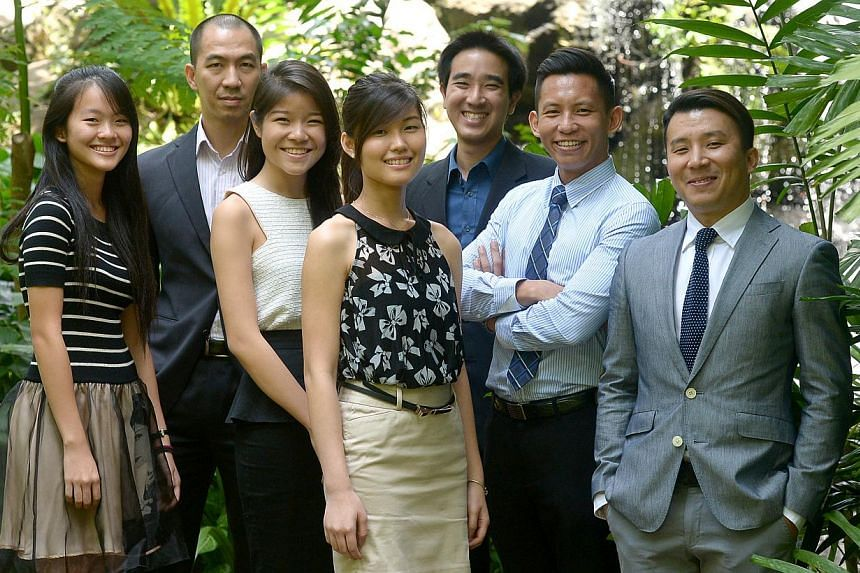 (From left) Tanjong Katong Girls' School student Cherie Lim, consultant Lien Choong Luen, NTU students Natalie Tan, 19, and Ng Si Ying, 21, aerospace and defence analyst Darren Lee, 27, and SIA pilots Kevin Lee and Edward Tan, 36, were the seven cand