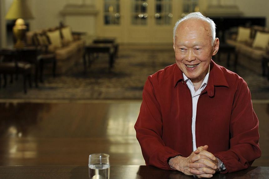 Mr Lee Kuan Yew smiles as his portrait is taken on Aug 14, 2009. Two separate musicals about the former prime minister are in the works and are expected to be staged next year, in time for Singapore's 50th anniversary. -- ST PHOTO: STEPHANI