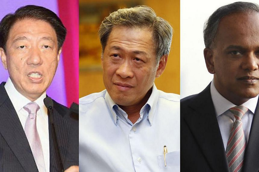 Combination photo of Deputy Prime Minister Teo Chee Hean, Defence Minister Ng Eng Hen and Foreign Affairs Minister K. Shanmugam. The Singapore ministers are asking Indonesia to consider the feelings of Singaporeans in its decision to name a Navy ship