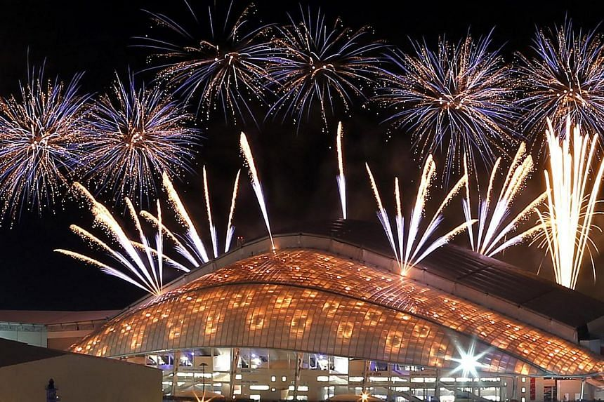 Fireworks are seen over the Fisht Olympic Stadium during the rehearsal of the opening ceremony in Sochi on Feb 4, 2014.Russia on Friday officially opens its first Winter Olympics with a ceremony attended by dozens of heads of state and aimed at