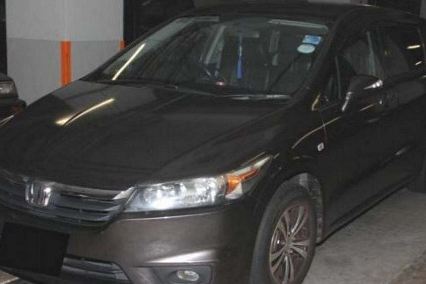The car driven by the 42-year-old Singaporean.-- PHOTO:CENTRAL NARCOTICS BUREAU