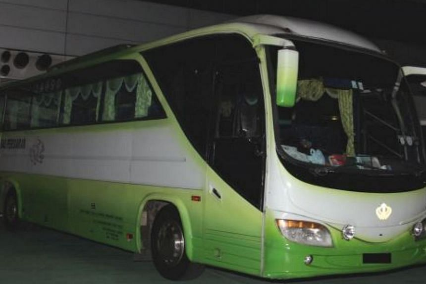 The bus driven by the 41-year-old Malaysian.-- PHOTO:CENTRAL NARCOTICS BUREAU
