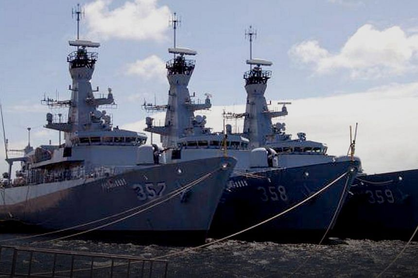 The warship KRI Usman Harun (right) with other new Indonesian Navy frigates at a shipyard in Britain. Acting Manpower Minister Tan Chuan-Jin said that ''there is nothing heroic about killing innocent civilians''. -- PHOTO: INDONESIAN NAVY
