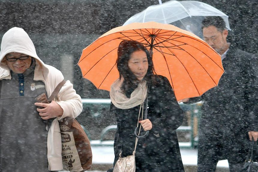 Pedestrians cross a street in the snow in Tokyo on Feb 8, 2014. Heavy snow struck Tokyo and other areas across Japan, grounding nearly 300 flights and suspending some train services as the weather agency issued a severe storm warning for the capital.