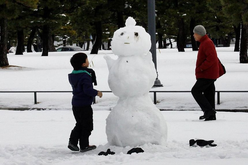 A boy builds a snowman at a park in Tokyo on Feb 9, 2014, one day after a heavy snowfall hit the capital. -- PHOTO: AFP