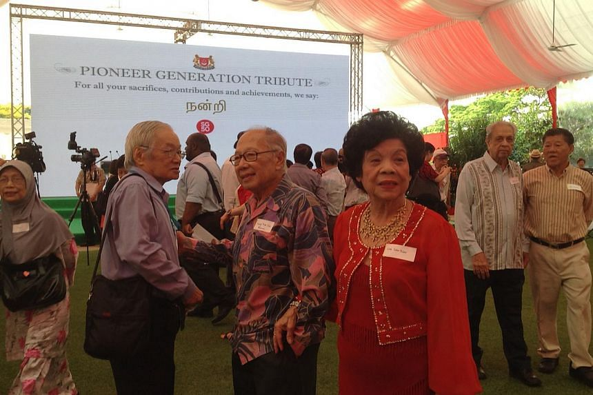 Some of the guests at the Pioneer Generation Tribute at the Istana on Feb 9, 2014. -- ST PHOTO: GOH CHIN LIAN
