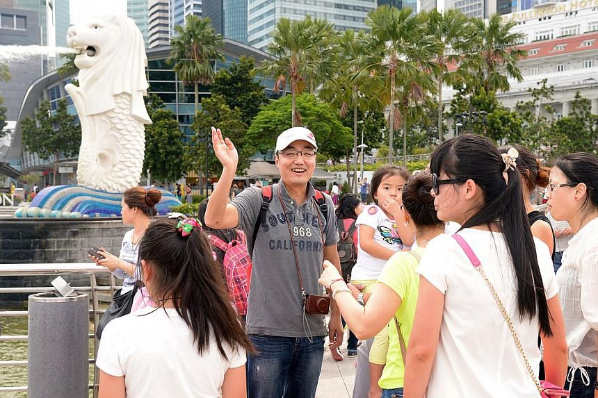 Tourists from China at the Merlion, Feb 5, 2014. Travellers from China are swarming the world and Singapore is seeing them in record numbers. --ST FILE PHOTO: LIM SIN THAI