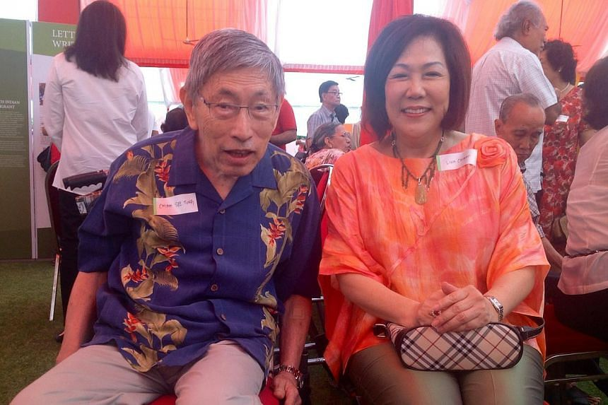 Former opposition MP Chiam See Tong and his wife Non-Constituency MP Lena Chiam.-- ST PHOTO: GOH CHIN LIAN