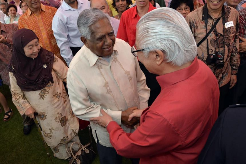 President DR Tony Tan keng Yam meeting ex President Nathan at the Pioneer Generation Tribute on Sunday, Feb 9, 2014, at The Istana. -- ST PHOTO: DESMOND FOO