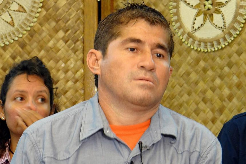 Mr Jose Salvador Alvarenga of El Salvadore attends a press conference in Majuro on Feb 6, 2014. Mr Alvarenga was set to depart the Marshall Islands on Monday for his homeland of El Salvador after medics cleared him to travel, a source familiar with t