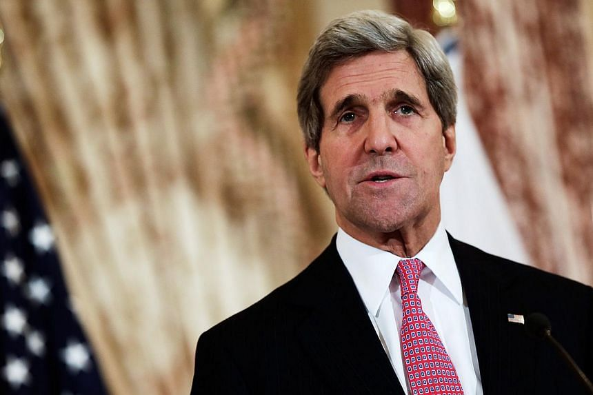 United States (US) Secretary of State John Kerry speaks while delivering a joint statement with Japanese Foreign Minister Fumio Kishida at the State Department on Feb 7, 2014 in Washington, DC.Mr Kerry will begin a trip this week to China, Sout