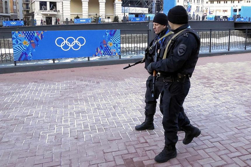 Russian security forces patrol the streets as preparations continue for the 2014 Sochi Winter Olympics in Rosa Khutor on Feb 7, 2014.Top lawmakers from the United States House of Representatives' intelligence and homeland security panels on Sun