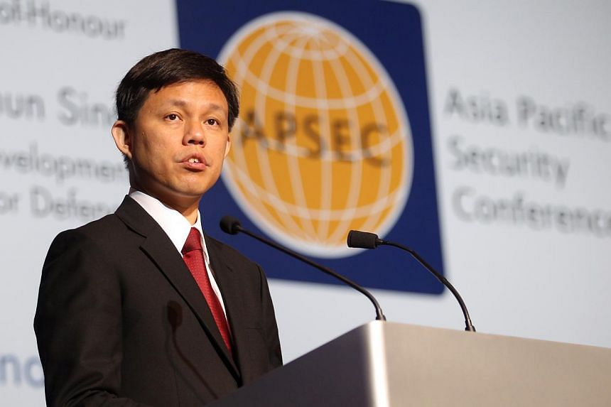 Second Defence Minister Chan Chun Sing speaking at the Asia-Pacific Security Conference on Feb 10, 2014. -- PHOTO: LIANHE ZAOBAO