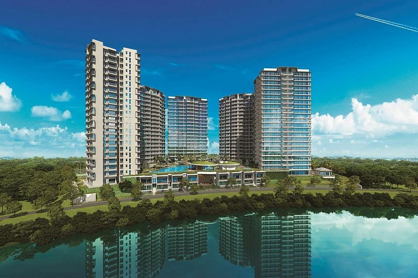 View of RiverTrees Residences from across the Sungei Punggol Reservoir. New home sales in Sengkang are set to heat up, with the launch of another condominium at Fernvale later this month. -- PHOTO: FRASER CENTREPOINT