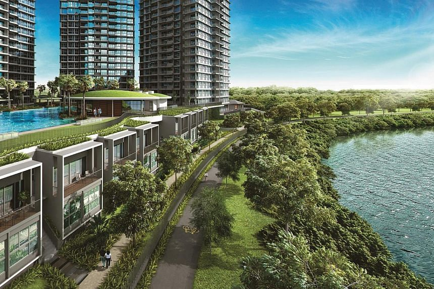 View of RiverTrees Residences' 'Cove Houses' and Amenities. New home sales in Sengkang are set to heat up, with the launch of another condominium at Fernvale later this month.-- PHOTO: FRASERS CENTREPOINT