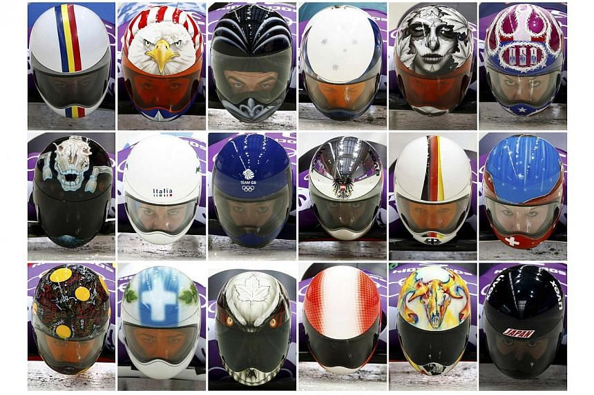 A picture combination shows the helmets of eighteen athletes during the men and women skeleton event training at the Sanki sliding center in Rosa Khutor, a venue for the 2014 Sochi Winter Olympics, near Sochi, on Feb 10, 2014. (From top left to botto