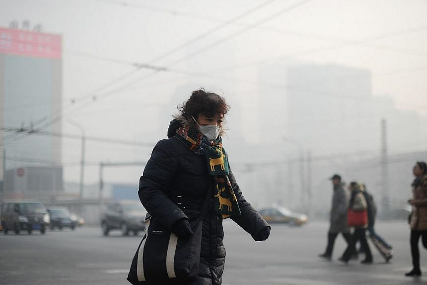 """A woman wearing a face mask makes her way along a street in Beijing on Jan 16, 2014. Severe pollution in Beijing has made the Chinese capital """"barely suitable"""" for living, according to an official Chinese report. -- FILE PHOTO: AFP"""