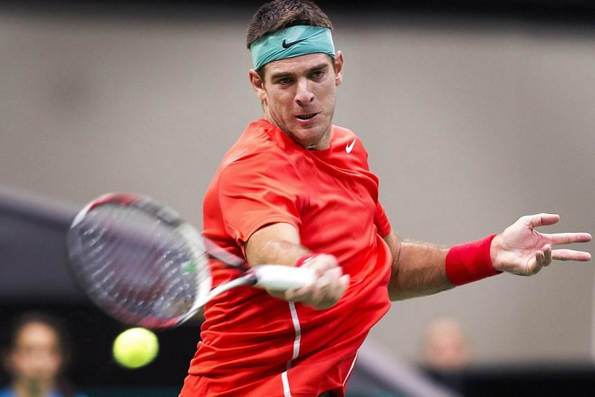 Argentinian player Juan Martin Del Potro returns a ball to France's Gael Monfils during the first round of the ATP World Tennis Tournament in Rotterdam, on Feb 12, 2014. -- PHOTO: AFP