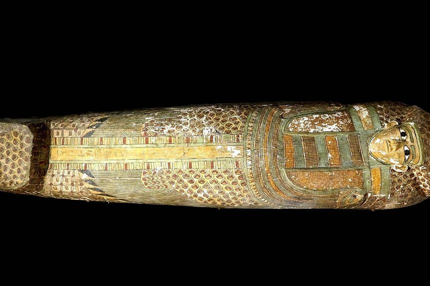 A handout picture released by Egypt's Supreme Council of Antiquities on Feb 13, 2014. Spanish archaeologists have discovered a 3,600-year-old Egyptian mummy inside a wooden sarcophagus adorned with rare feather drawings in the ancient city of Lu