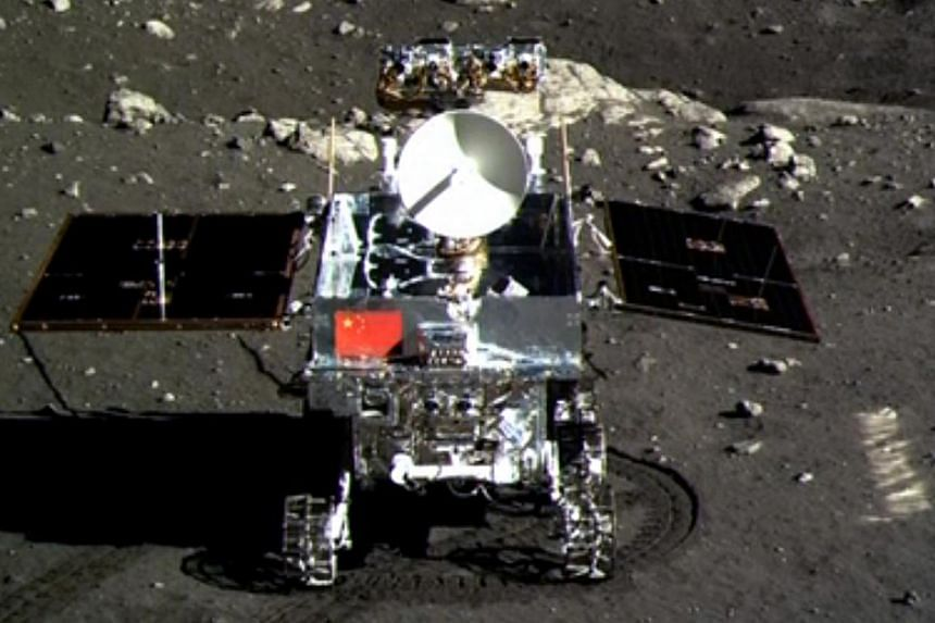 This screen grab taken from a CCTV footage shows a photo of the Jade Rabbit moon rover taken by the Chang'e-3 probe lander on Dec 15, 2013. -- PHOTO: AFP