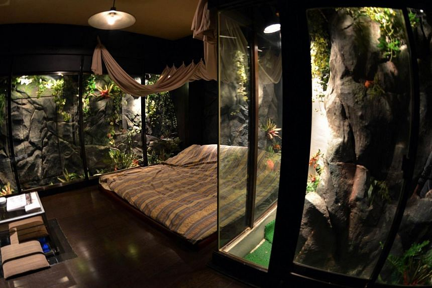 A jungle style room of a love hotel called The Rock Kowloon Walled City in Iruma, suburban Tokyo, on Feb 5, 2014. Japan's love hotels cater to almost every taste, offering a few hours of reasonably-priced privacy in a crowded country. -- FILE PHOTO: