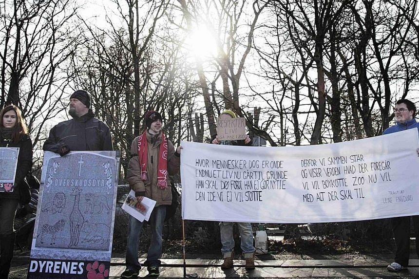 People hold signs during a protest against the killing of the giraffe Marius outside Copenhagen Zoo, Feb 9, 2014. -- FILE PHOTO: REUTERS