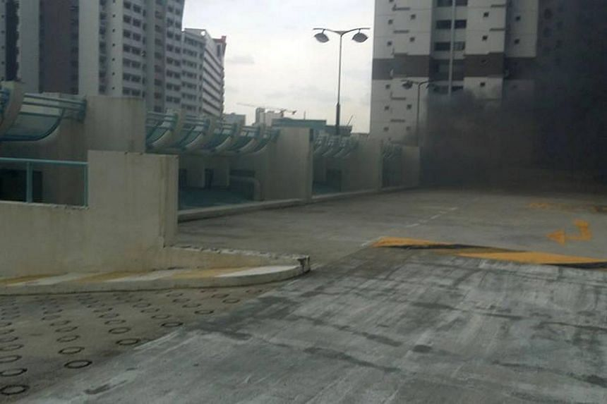 Explosions heard at a multi-storey carpark at Toh Guan Road, on Feb 13, 2014. -- PHOTO: COURTESY OF ANDREW YEO