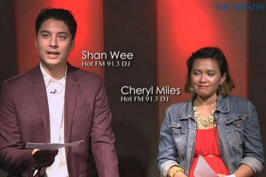 Hot FM 91.3 DJs Shan Wee and Cheryl Milesread dating website profile descriptions to avoid. -- PHOTO: SCREENGRAB FROM VIDEO