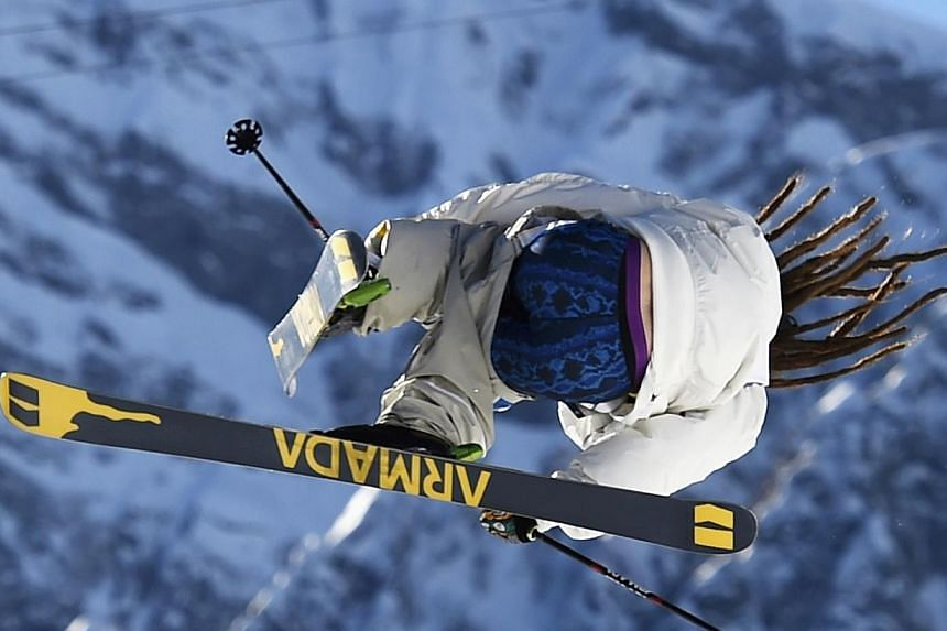Sweden's Henrik Harlaut performs a jump during the men's freestyle skiing slopestyle qualification round at the 2014 Sochi Winter Olympic Games in Rosa Khutor, on Feb 13, 2014. Henrik Harlaut did not win a medal in the Olympic Games freestyle skiing
