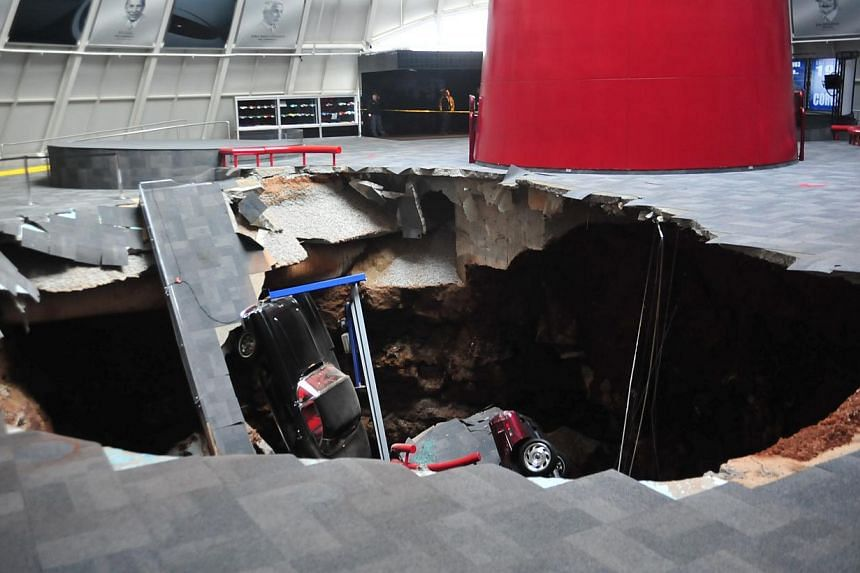 A sink hole that swallowed eight Corvettes in the National Corvette Museum inBowling Green, Kentucky, on Feb 12, 2014. -- PHOTO: REUTERS