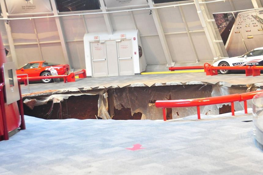 A sinkhole that swallowed eight Corvettes in Bowling Green, Kentucky, on Feb 12, 2014. -- PHOTO: REUTERS/NATIONAL CORVETTE MUSEUM