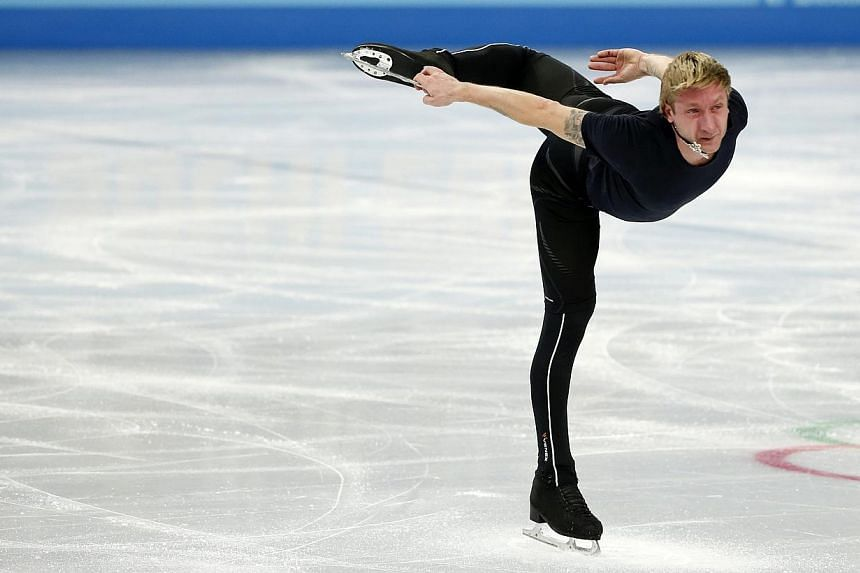Evgeni Plushenko of Russia skates during a figure skating training sesssion in preparation for the Olympics earlier this month. -- PHOTO: REUTERS
