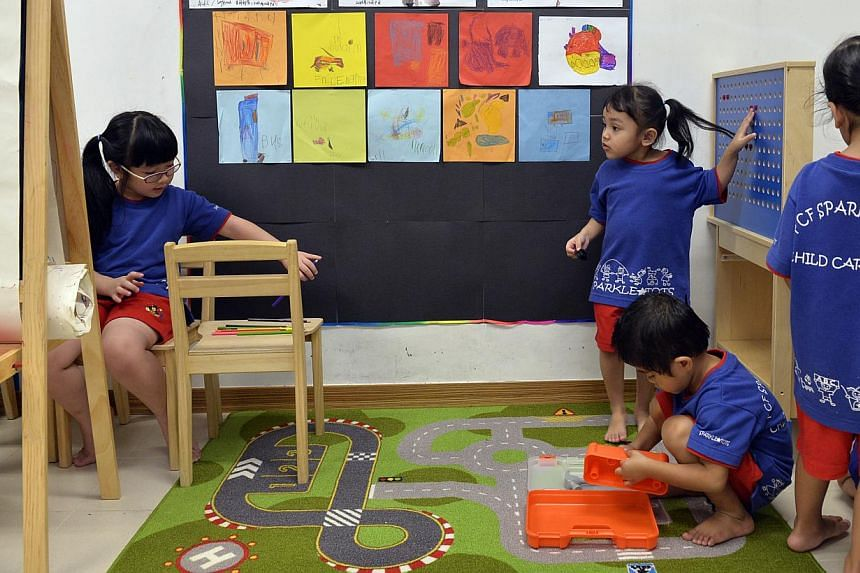 Children at play at the PAP Community Foundation Sparkletots Zhenghua infant and childcare centre at Senja Road, which was opened on Dec 28, 2013. A new system to more accurately gauge demand for childcare places is in the works, so that new childcar