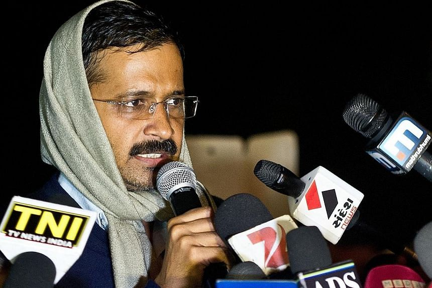 Delhi's Chief Minister Arvind Kejriwal addresses media on January 21, 2014. Mr Kejriwal announced his resignation on February 14, 2014 to protest delays to the anti-corruption bill, after less than 50 days in office. -- PHOTO: AFP