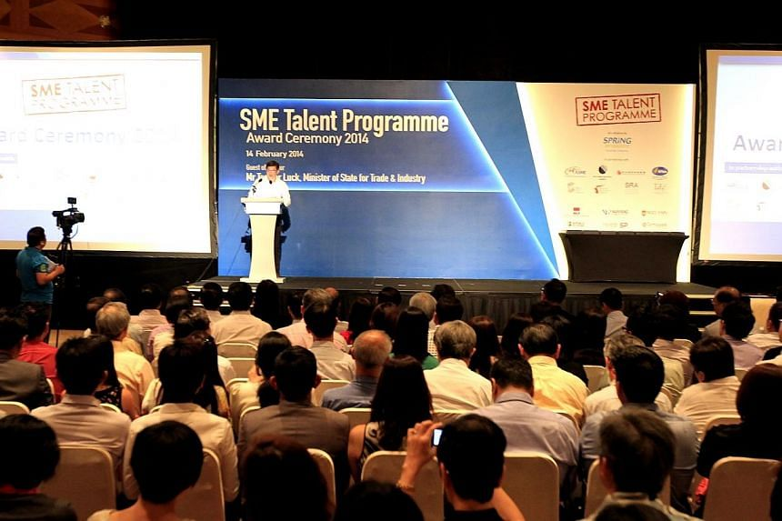 Inaugural SME Talent Programme Award Ceremony 2014 co-organised by SPRING Singapore and othersmall and medium enterprises (SMEs) to present awards to students under the programme. 90 young talents received study awards under the SME Talent Prog