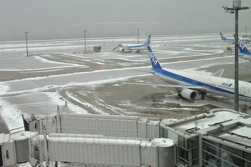 Snow-covered Jetliners are parked at Tokyo's Haneda airport on Feb 15, 2014. -- PHOTO: AFP