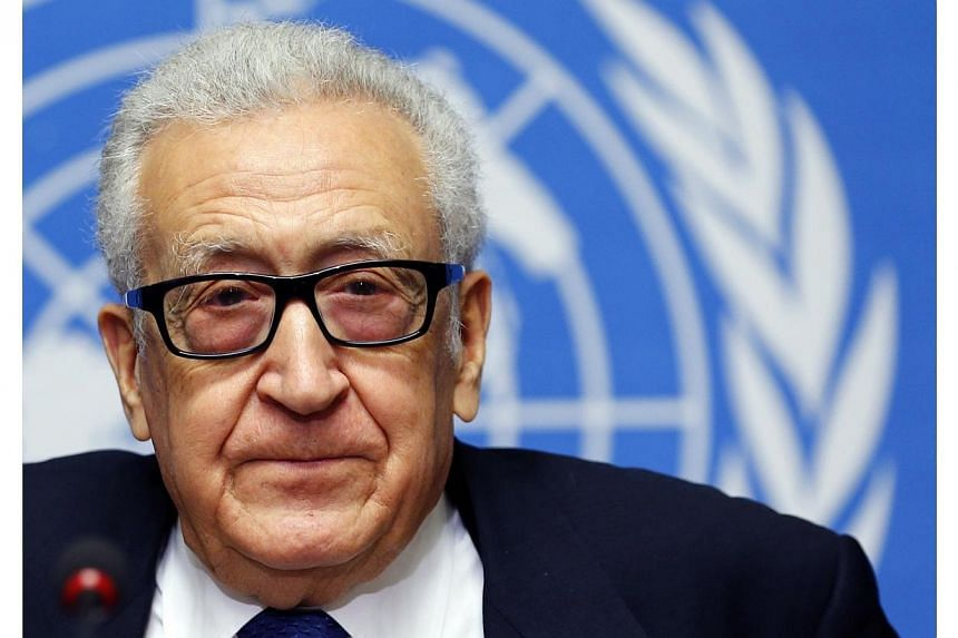 U.N.-Arab League envoy for Syria Lakhdar Brahimi addresses the media after a meeting at the Geneva Conference on Syria at the United Nations European headquarters in Geneva, on Saturday, Feb 15, 2014. A second round of peace talks between Syria'