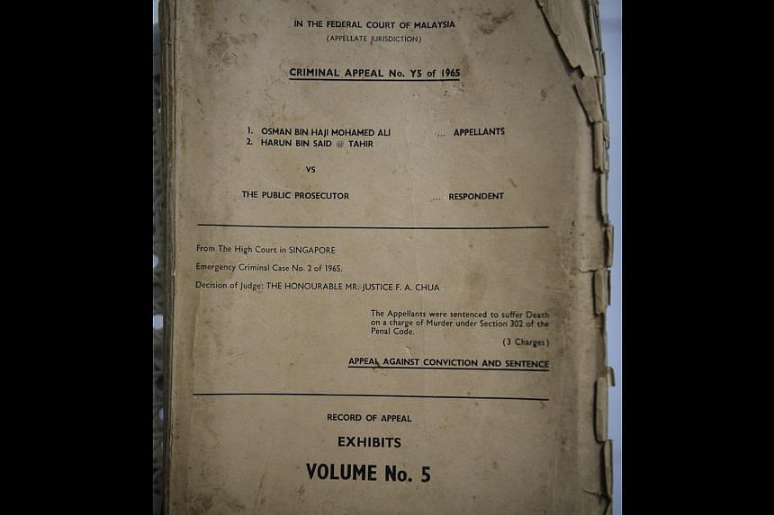 One of the court documents kept for decades by blast survivor Reverend Yeo Suan Kim.-- PHOTO: COURTESY OF REVEREND YEO SUAN KIM