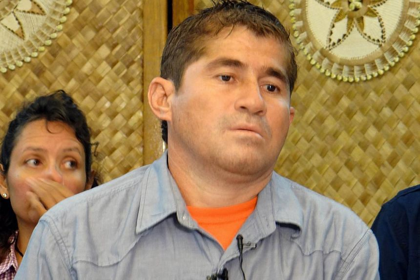 Jose Salvador Alvarenga of El Salvadore attends a press conference in Majuro on Feb 6, 2014. Fresh details have emerged of castaway Jose Salvador Alvarenga's first encounter with other people after months at sea - including how Marshall Islands resid
