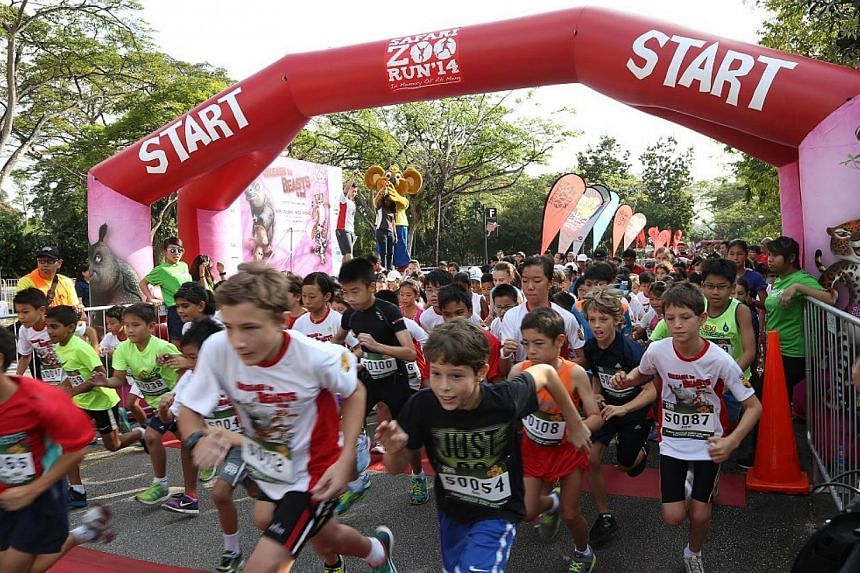 More than 8,000 runners turned up at the Singapore Zoo on Sunday, Feb 16, 2014, for an annual run to commemorate the popular orang utan Ah Meng. -- PHOTO: PINK APPLE