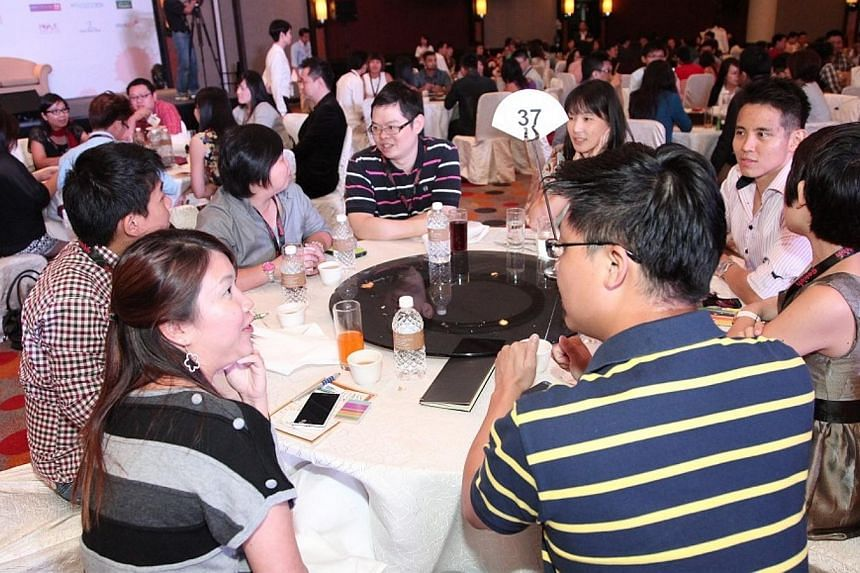 Nearly 500 singles turned up at the grand ballroom in Orchard Hotel on Sunday for an afternoon of mass speed dating, organised by the Social Development Network.-- PHOTO: SOCIAL DEVELOPMENT NETWORK