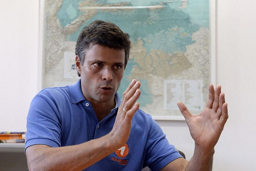 The authorities accuse Mr Leopoldo Lopez of murder and terrorism in connection with violence around four days of sporadic anti-government protests that have left three people dead and both sides blaming each other for the bloodshed. -- FILE PHOTO: AF